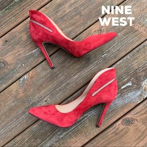 Nine West Red Suede Pointy Toe Pumps